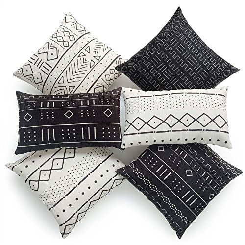Mudcloth Print - Hofdeco Decorative Throw and Lumbar Pillow Cover HEAVY WEIGHT Cotton Linen African Mud Cloth Ethnic Black Geo Stripe Tribal Pattern Natural Dots Line 18