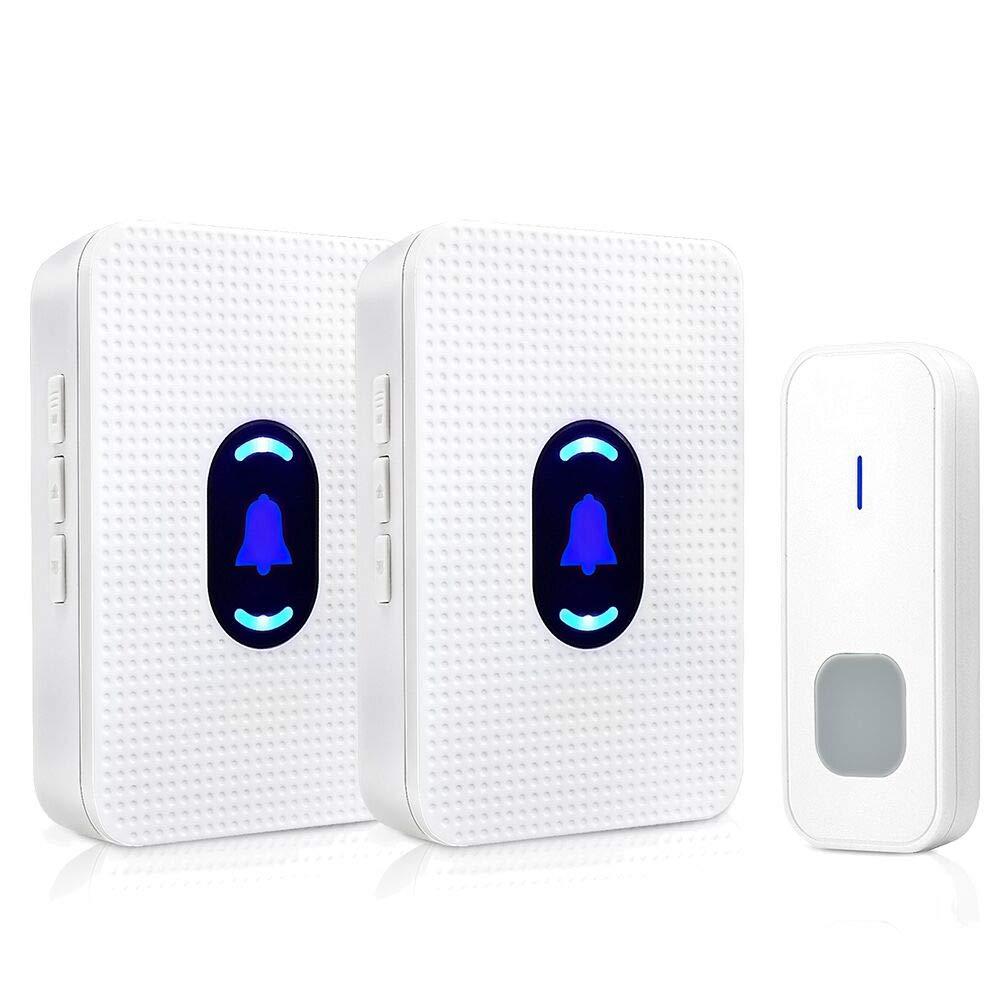 Wireless Doorbell 2 Receivers, BOSCHENG Waterproof Wireless Doorbell 1 Transmitter and 2 Receivers Operating at 1000 feet Range, Wall Plug-in Cordless Door Chime (1TO2)