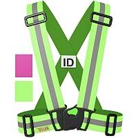 Tuvizo - Warnweste / Reflektorweste / Sicherheitsweste einstellbar leicht und elastisch mit Identifizierungslabel für Notfälle - Sicherheits zubehör für Erwachsene und Kinder - Gelb / Rosa. Zum Laufen Motorrad