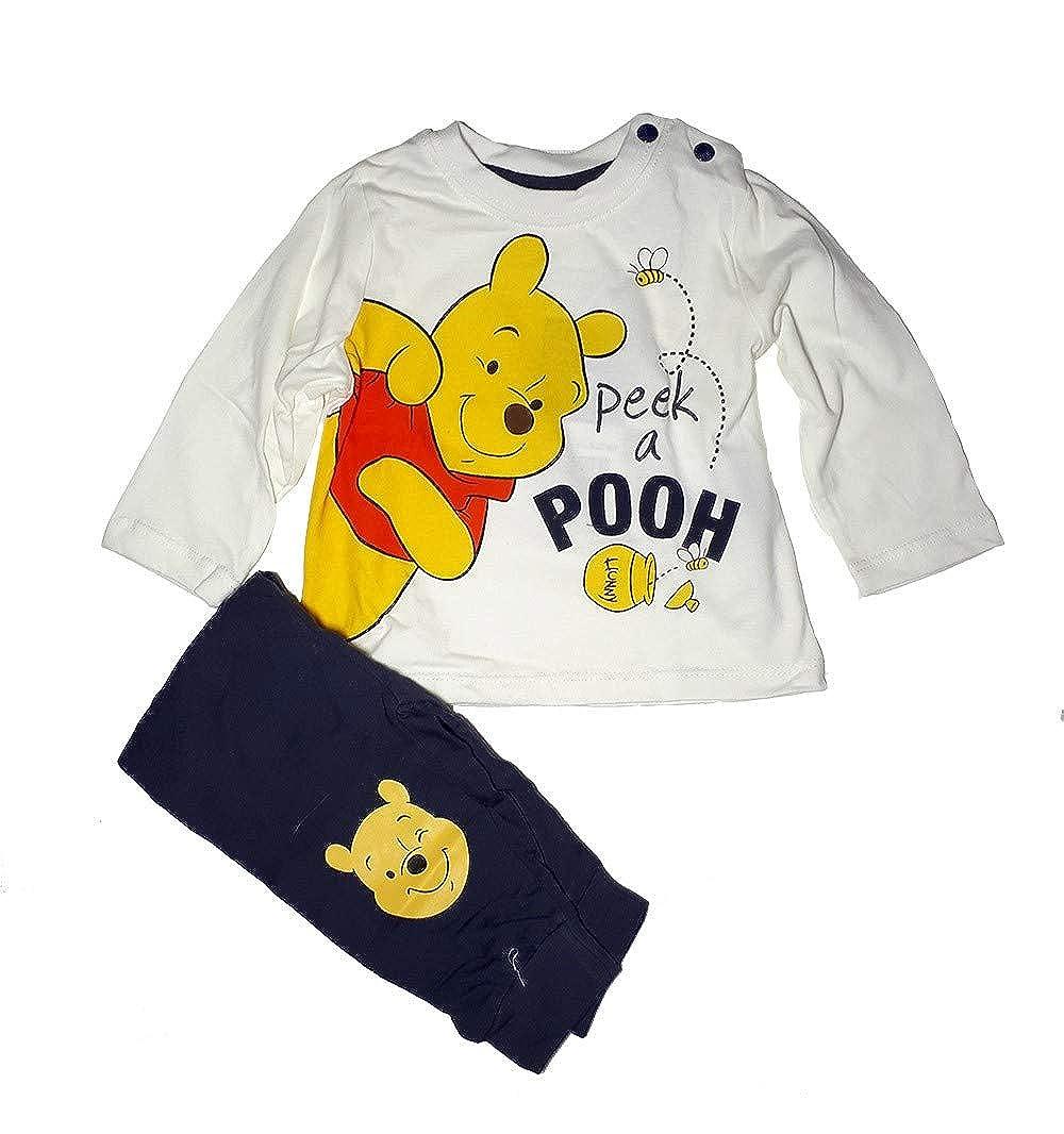 39b3f5607970d Winnie l ourson Ensemble bébé Garcon Tee Shirt Manches Longues et Pantalon-  Blanc Disney