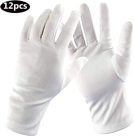 Guantes blancos de algodón puro Eczema Hidratante Servicio de limpieza Limpieza de monedas Joyería de plata Inspección de vestuario for hombres, mujeres, 12 pares (Color : White, Size : L): Amazon.es: Hogar