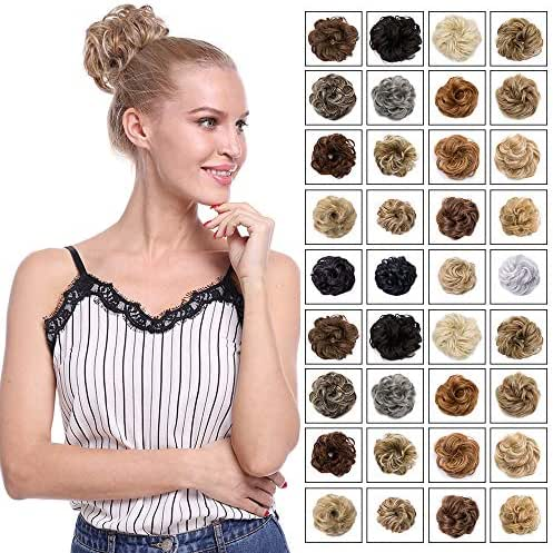 Scrunchy Updo Wavy Straight Hair Bun Messy Donut Elastic Chignons Synthetic Ponytail Hairpiece Hair Extension Blonde Brown