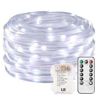 85eaec033f5 LE Cadena de luces de cuerda Exteriores 10m 120 LED 8 modos Resistente al  agua Blanco
