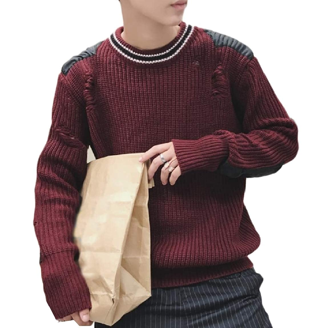 YUNY Mens Fashion Ribbed Loose Knitwear Wool Blend Sweater Blouse Wine Red XL