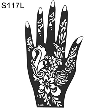 Amazon Com Gainvictorlf India Henna Temporary Tattoo Stencil Kit