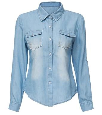 00eccdf9d2 JXG Women s Long Sleeve Double Pocket Button Front Jean Denim Shirt  LightBlue ...