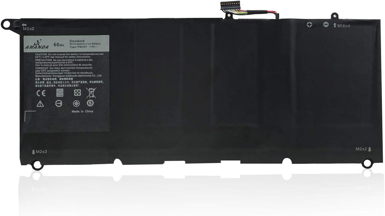 Amanda PW23Y Battery 7.6V 60Wh Replacement for Dell XPS 13 9360 13-9360-D1605G Series Laptop TP1GT 0TP1GT RNP72 0RNP72