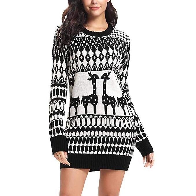 Women Christmas Sweater Dress.Clearance Forthery Christmas Sweater Women Ugly Snowflake Merry Xmas Mini Dress