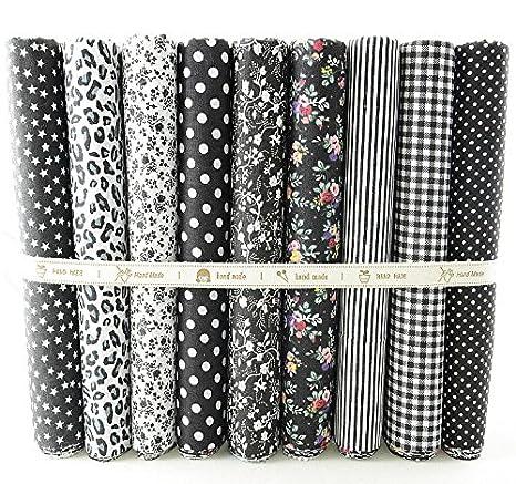 OPEN BUY 9 Telas Otoñales DE 50 X 50 cm Negros para Manualidades, Costura, Scrapbooking, Patchwork, Vestidos Muñecos de Trapo, guirnaldas Cojines, Toallas: ...