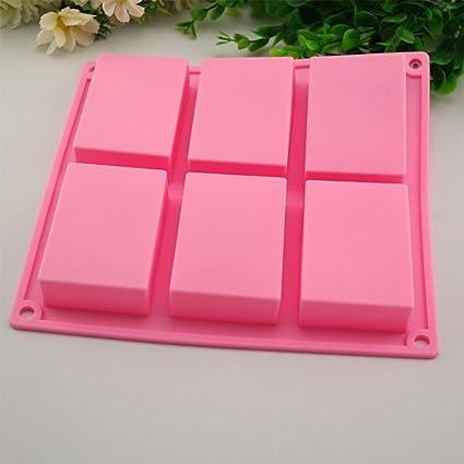 igemy 6 Cavidad rectangular de silicona molde para Casera Artesanía jabón mold rosa