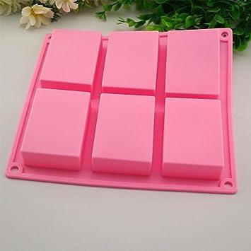 igemy 6 Cavidad rectangular de silicona molde para Casera Artesanía jabón mold rosa: Amazon.es: Hogar