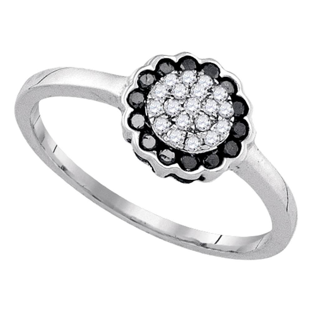 Sterling Silver Round Black Diamond Flower Cluster Ring 0.23 Cttw