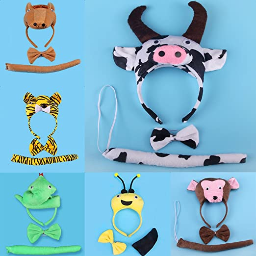 Set Animal Fancy Dress Fabric Headband Ears Tail Gloves Adults Party Rooster