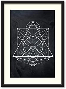 NWT Black Paper Framed Canvas Wall Art for Living Room, Bedroom Abstract Geometric Canvas Prints for Home Decoration Ready to Hanging - 23x31 inches