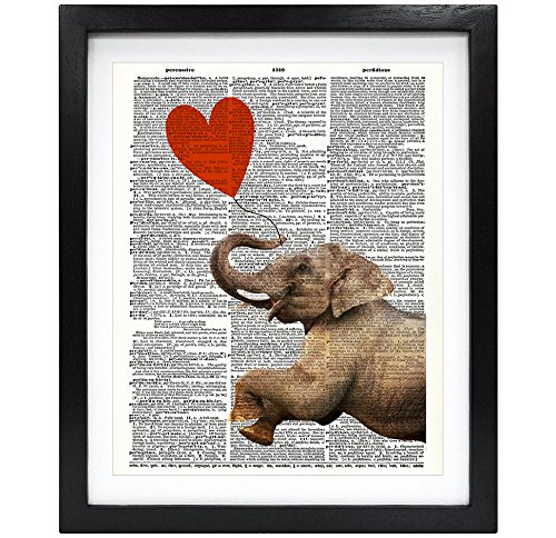 Susie Arts 8X10 Unframed Elephant with a Heart Elephant in love Upcycled Vintage Dictionary Art Print Book Art Print Funny Art Print Wall Art V107