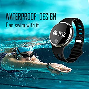 Plustore Waterproof Bluetooth Bracelet Pedometer Calorie Bicycle Sleep Monitoring Smartwatch - Black