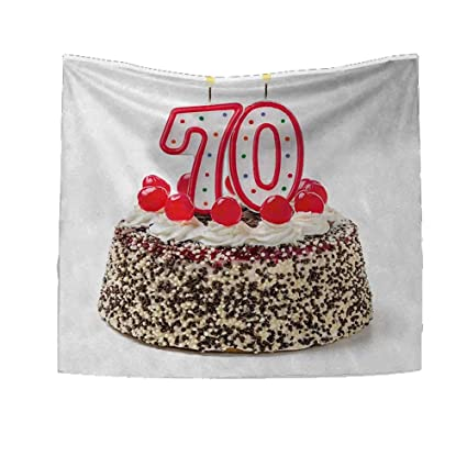 RuppertTextile 70th Birthday Square Tapestry Cake 70 Number Candles Sprinkles Party Event Photo Image Throw