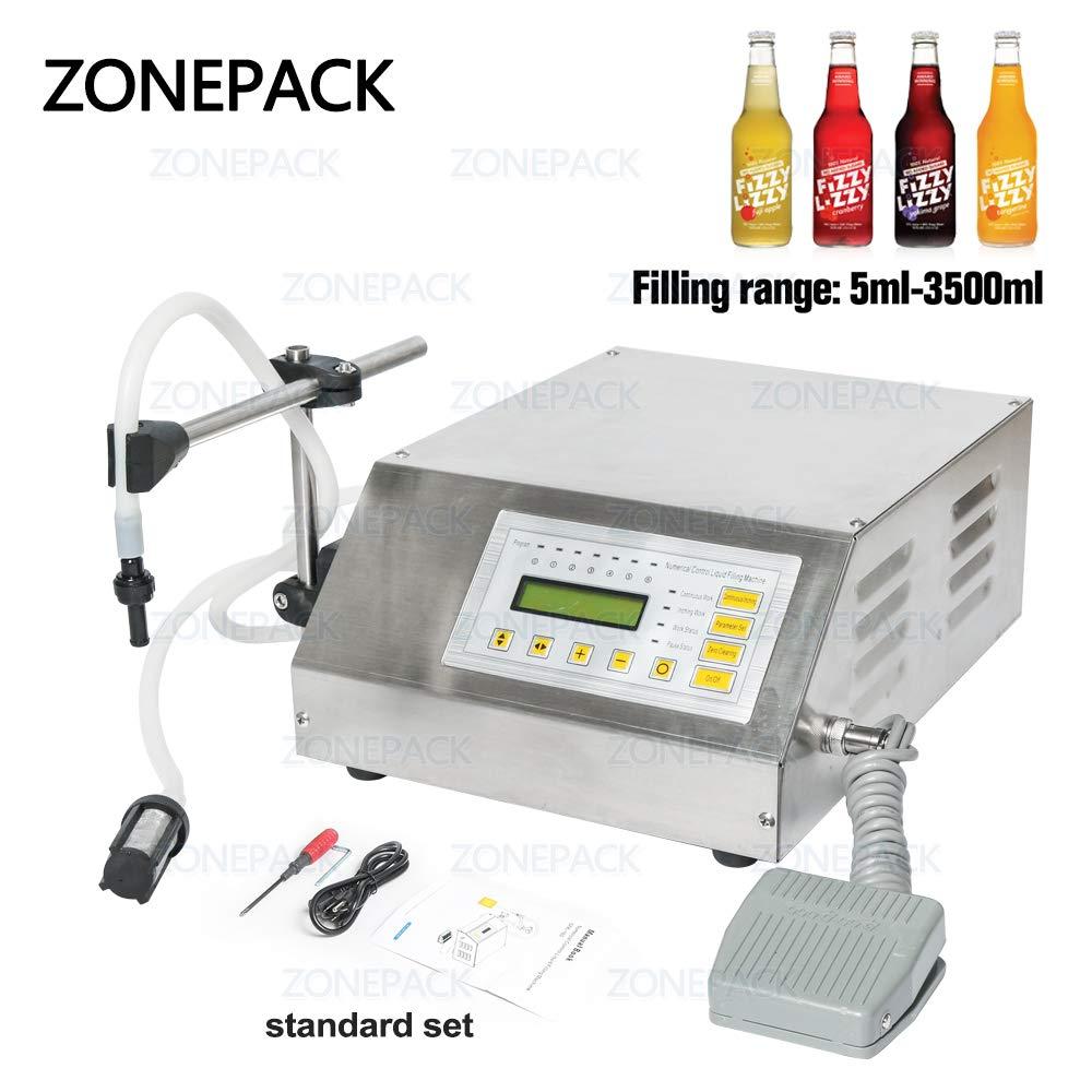 ZONEPACK Liquid Filling Machine Pump Numerical Filler Digital Control Drink Water 5ml to 3500ml GFK160 (Machine)