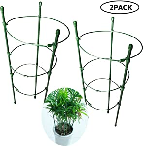 """DoubleWood Plant Support Cages 18"""" Plant Cages Vine Trellis Support Flowers Plants Cage Triple Plastic Pillar Vine Plants Holder Stand Small Pot Tomato Trellis for Home Garden Balcony (Pack of 2)"""