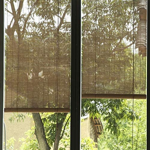 LXLA Persianas Enrollables de Madera para Exteriores, Sombrillas Garden Patio Gazebo Pergola Blackout, con Órbita y Tracción Lateral, a Prueba de Humedad y a Prueba de Polvo (Size : W140CM X H280CM):