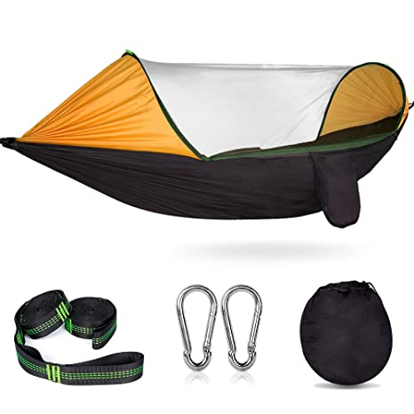 Popular Brand Camping Equipment Portable Parachute Fabric Camping Hammock Hanging Bed With Mosquito Net Sleeping Hammock Outdoor Hammock Carefully Selected Materials Camping & Hiking Sports & Entertainment