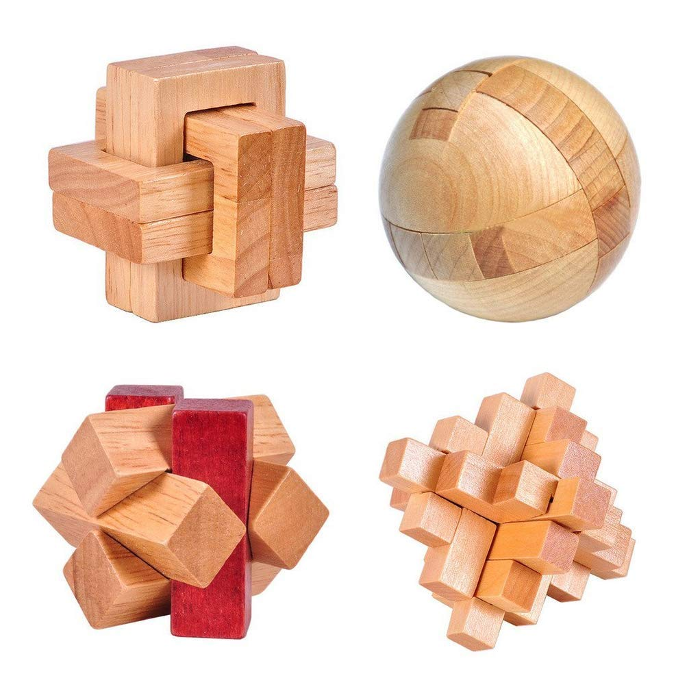 4 Pack 3D Wooden Cube Fidget Finger Toys Brain Teaser Puzzles Set IQ Challenge Set for The Best Learning & Education, Adult/Kids,Stress and Anxiety Relief/ADHD,Autism Adult and Children by Cytsj (Image #1)