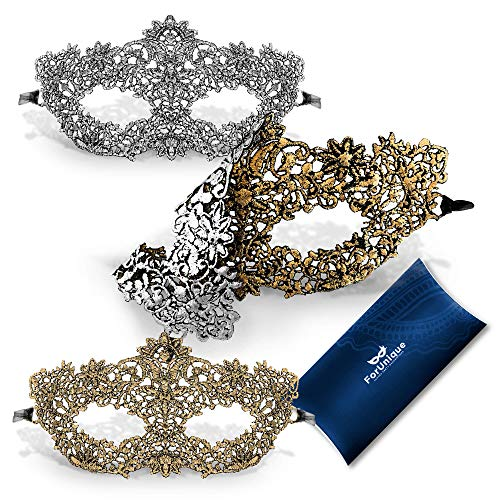 Masks For A Masquerade (One Masquerade Mask for Women 2 Sides - Unique Luxury Design One Side Gold and One Silver Girl Lace Venetian Eye Mask - Party Supplies Accessories Carnival Mardi Gras Anniversary)