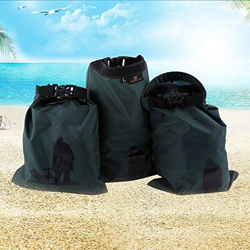 3pcs Nylon Waterproof Dry Bag Camping Equipment Green - 3