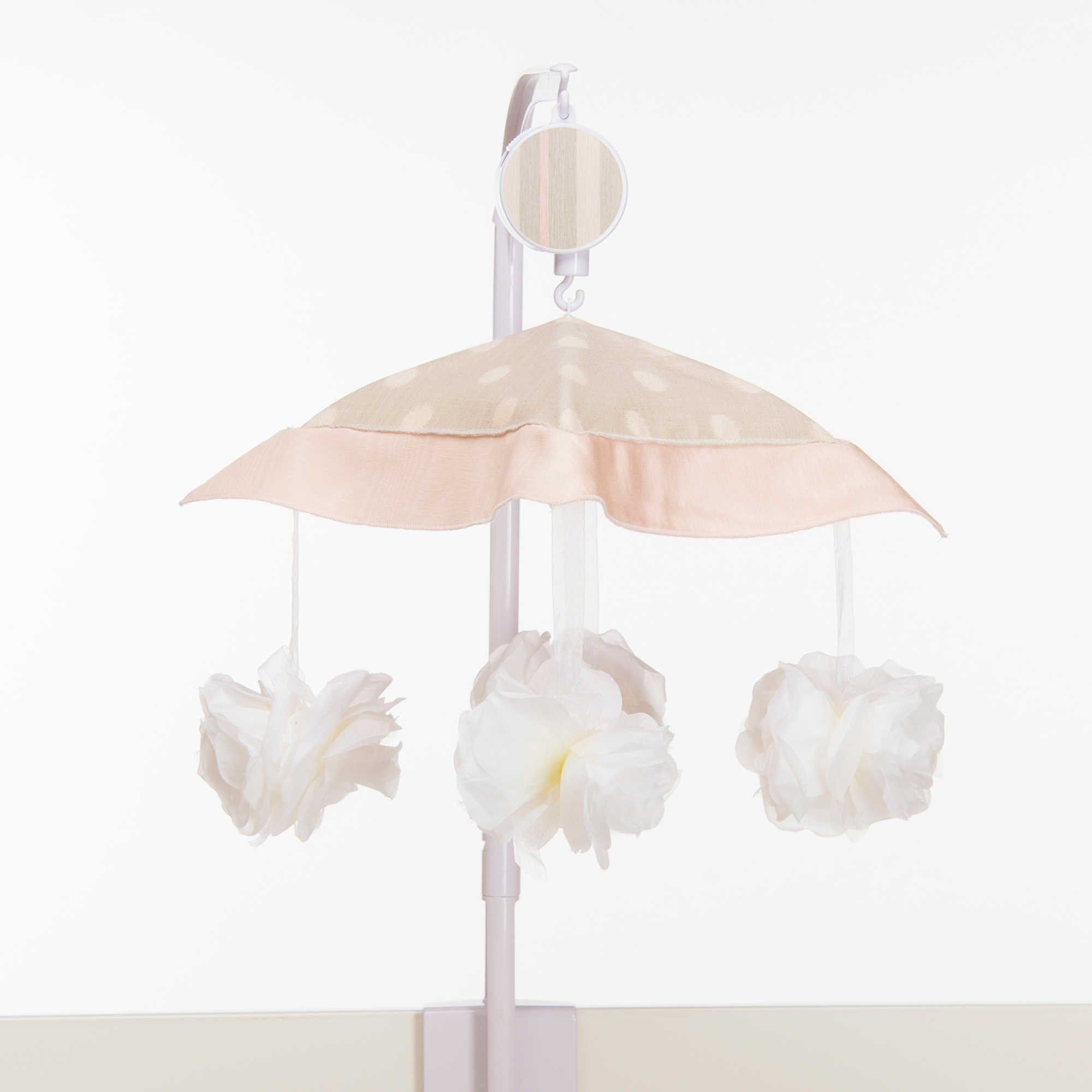 Modern Style Sing in Lullaby Musical Mobile with Decorative Flowers Under a Fabric Canopy (arm cover sold separately)