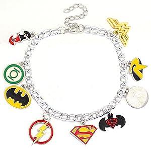 Fashion Jewelry ~ Batman Superman Flash Wonder Woman Charm Bracelet (UT8Ewoi)