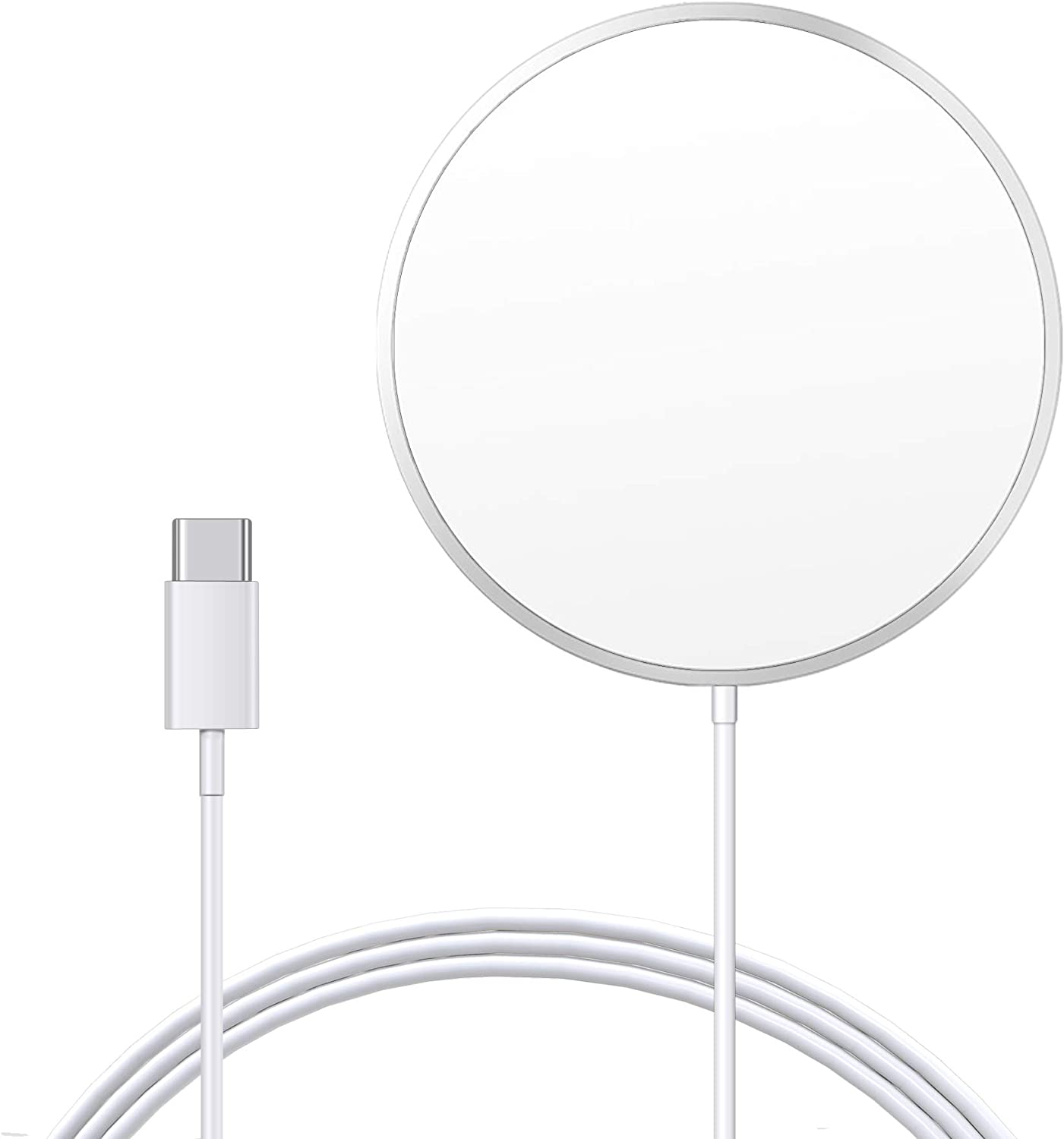 ZEROLEMON Magnet Wireless Charger, Compatible with Mag-Safe Charger, [10ft] Fast Wireless Charging Pad for iPhone 12 Mini/ 12/12 Pro/ 12 Pro Max/AirPods Pro - Silver