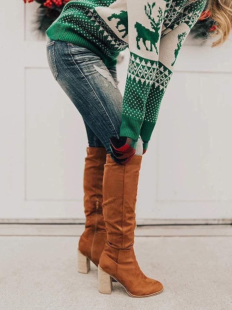 Minetom Femmes /Él/égant Mode Stretch Slim Haute Longues Bottes Au-Dessus du Genou Overknee Boots Talon Bloc Automne Hiver Chaussures
