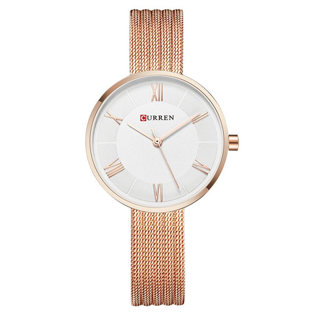New CURREN Women Watches with Steel Band Quartz Roman Scale Waterproof Top Brand bracelet watch9020 (Rose)