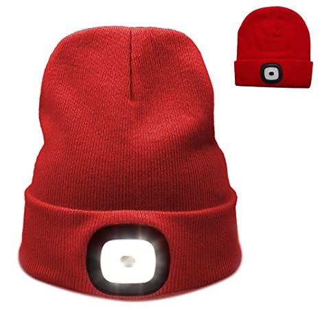 43d0da7149818 Image Unavailable. Image not available for. Color  4 LED Knit Hat USB  Rechargeable ...