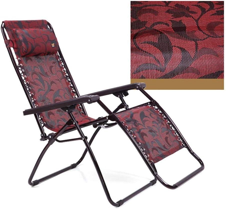 DX Silla Plegable Cubierta Sillones reclinables Azul Lazy Beach Volver Fold Presidente de albergue Casual Silla de Playa Balcón del hogar Inicio reclinable salón (Color : A) A