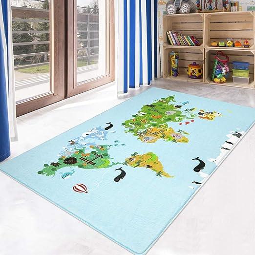 World Adventure Map Floor mat Baby Game Crawl mat Thin Quilt Childrens Room decoratio