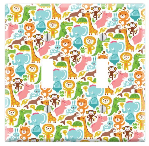 Dual Toggle Wall Switch Cover Plate Decor Wallplate - Baby's Animal Zoo by Decorate Plus