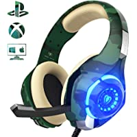 Beexcellent Casque Gaming pour PS4, Casque gaming Professionnel Stéréo Contrôle de Volume pour PC Ordinateur Portable, Mac
