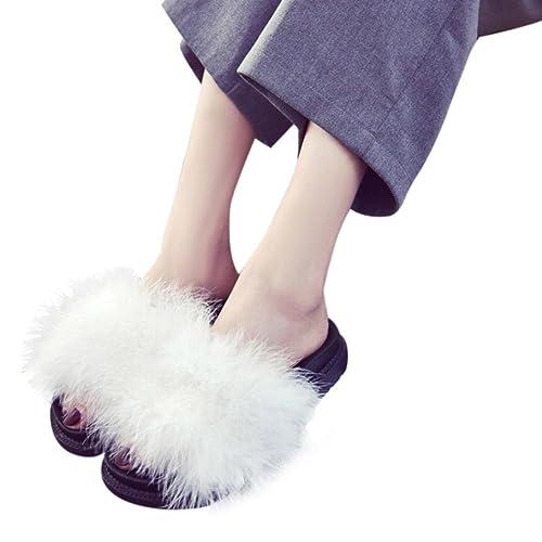 Hunpta Damen Slip On Sliders Flauschige Kaninchen Pelz Flache Pantoffel Flip Flop Sandale (37, Schwarz)