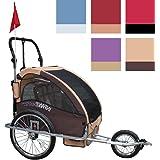 2 En 1: remorque, remorque pour vélo pliant jusqu'à 2 enfants et rainée (couleur)