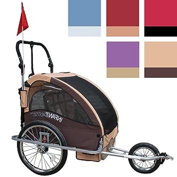 Infantastic FAH16 - Bicicleta con carro para llevar niños 2 en 1, adaptable para hacer footing, Prairie sable: Amazon.es: Deportes y aire libre