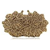Women Rose Evening Bags Crystal Diamond Clutches Wedding Party Purse (Dark Gold)