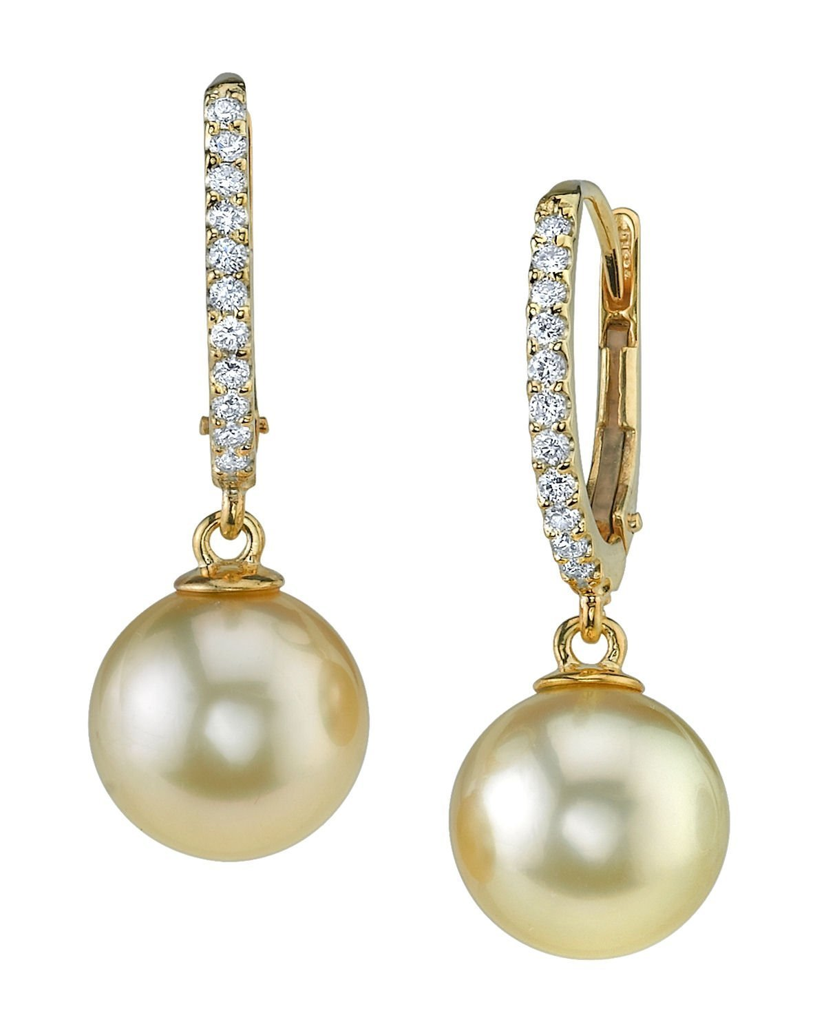 THE PEARL SOURCE 18K Gold 9-10mm Round Golden South Sea Cultured Pearl & Diamond Aurora Leverback Earrings for Women