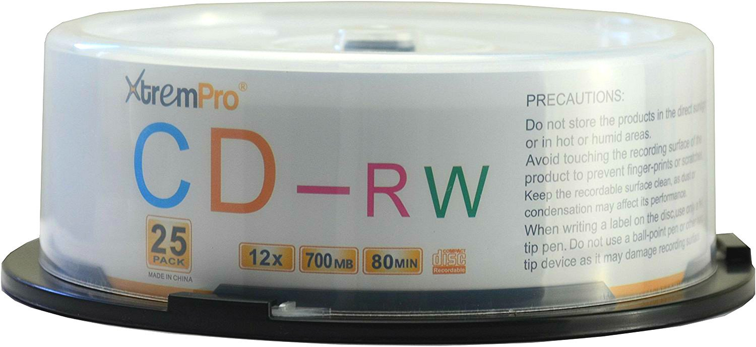 XtremPro CD-RW 12 X 700MB 80Min Recordable CD 25 Pack Blank Discs in Spindle - 11043