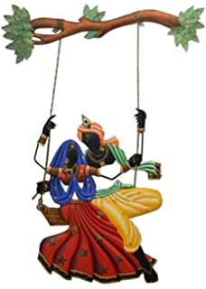 Handkraft Mural Radha Krishna On Swing Wall Hanging, BIG 41inches31 Inches Part 59