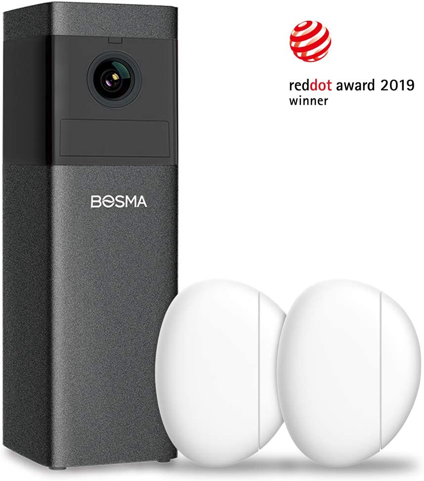Bosma X1 Indoor Security Camera, 1080p HD with Color Night Vision, 2 Pack Door Window Sensors, 2-Way Audio, Auto Siren Alarm, Advanced Motion Detection, Sound Alerts