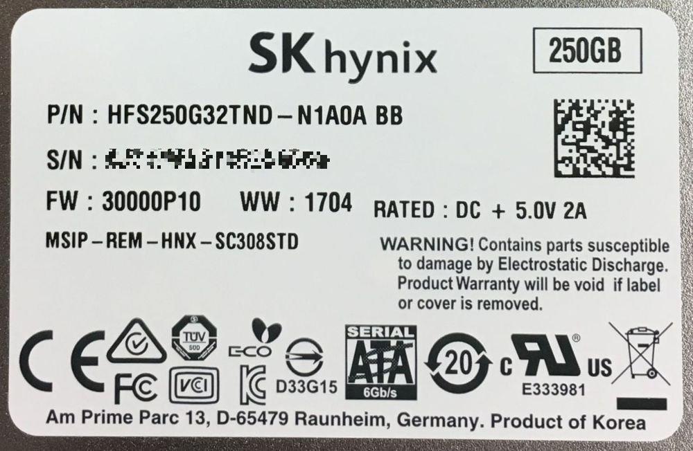 HFS250G32TND-N1A0A BB SK Hynix