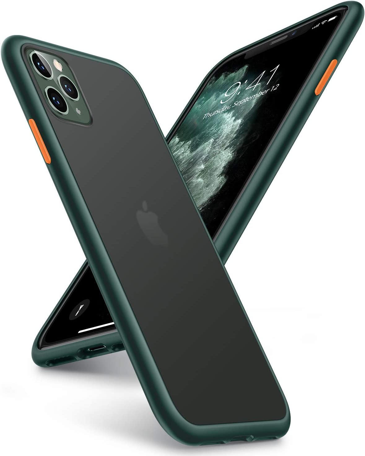TORRAS Shockproof Compatible for iPhone 11 Pro Case, [Military Grade Drop Tested] Translucent Hard Matte Case with Soft TPU Bumper Slim Phone Case Compatible for iPhone 11 Pro, Midnight Green