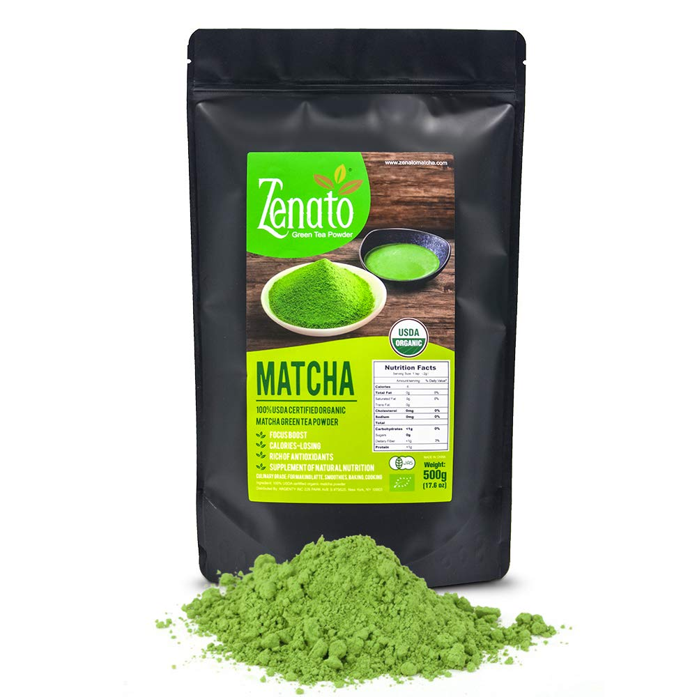 Organic Matcha Green Tea Powder 500g 17.6 oz Sealable Bulk Bag, Culinary Grade for Latte, Bakery, Smoothie, Shake, Ice Cream, Low Caffeine, no Fat or Sugar, Supply of Antioxidants and Energy by Zenato