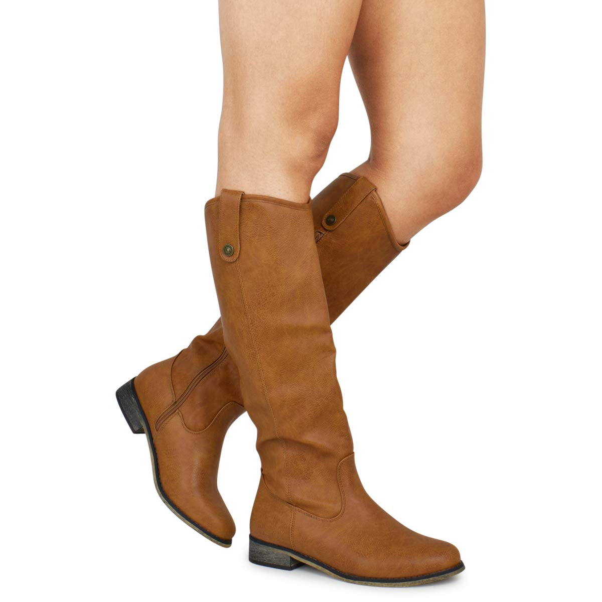 Premier Standard - Elastic Panel Knee High Boots - Low Heel Zipper Combat Stacked Heel Boots